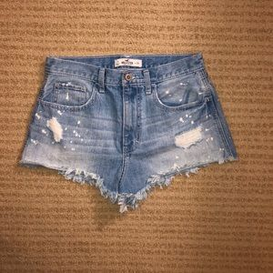 High rise ripped jean short